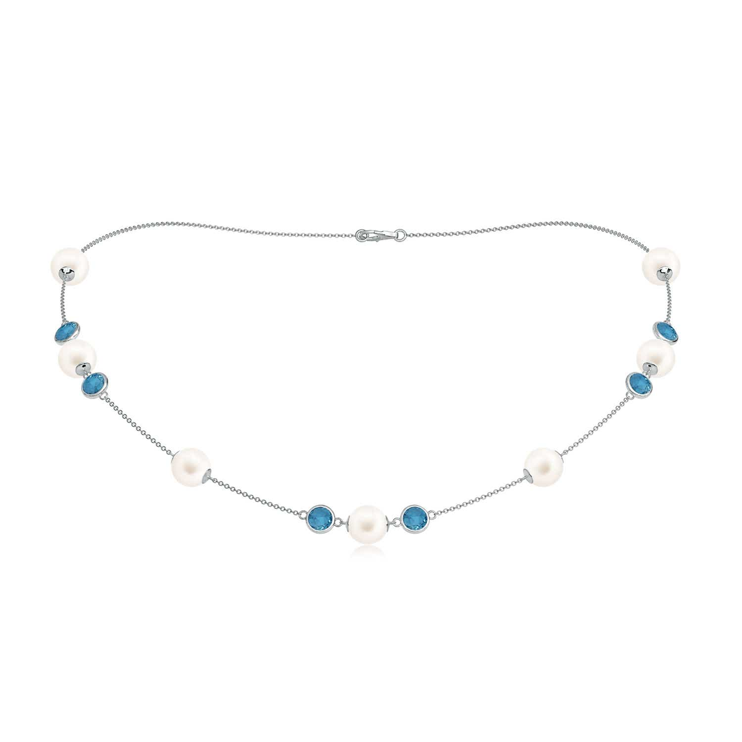 16 Freshwater Cultured Pearl & London Blue Topaz Necklace