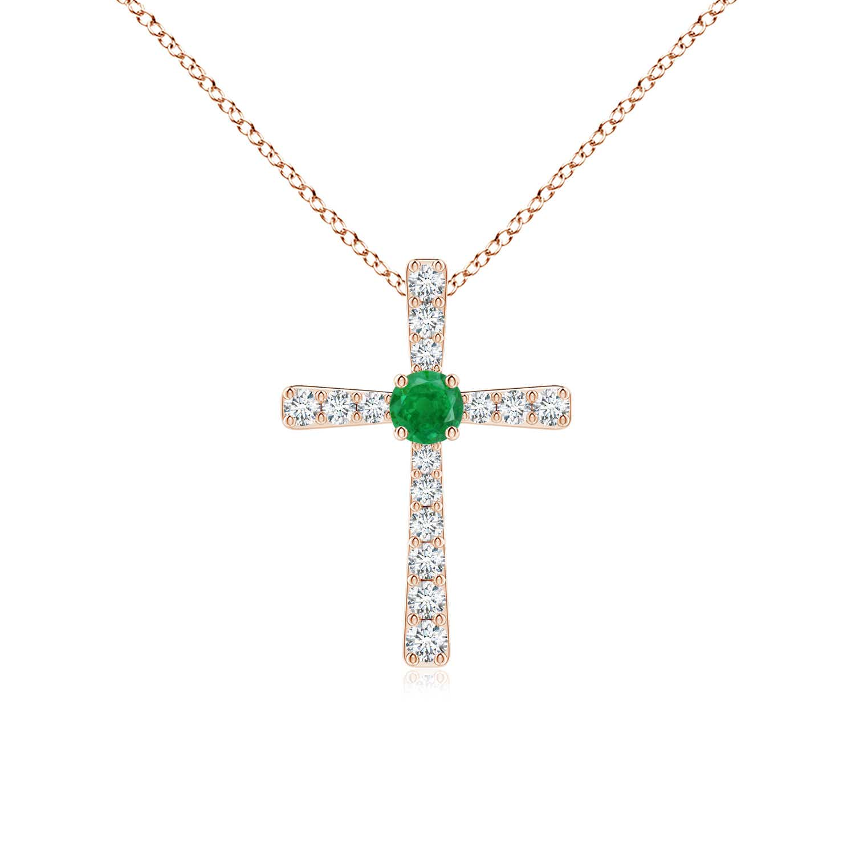Emerald and Diamond Cross Pendant