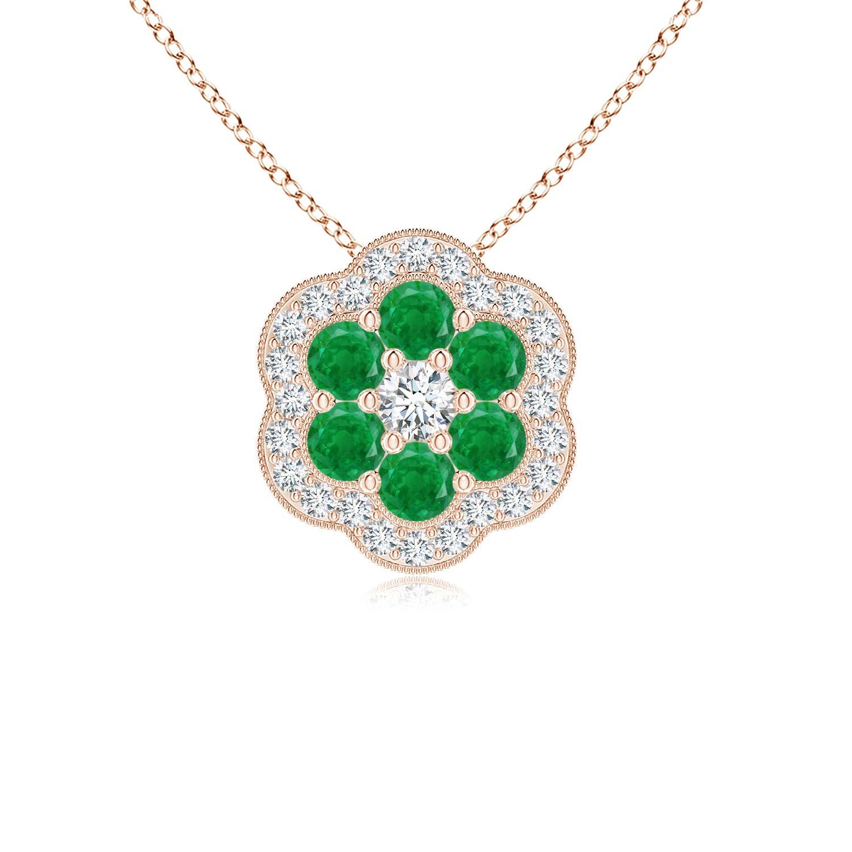 Emerald and Diamond Floral Pendant
