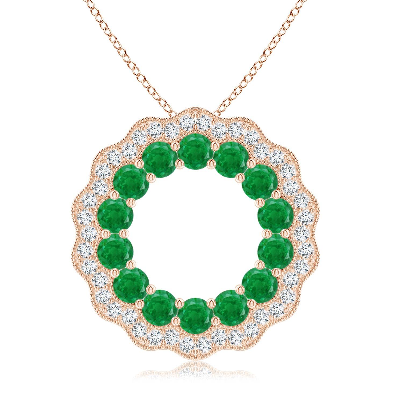 Emerald and Diamond Floral Circle Pendant