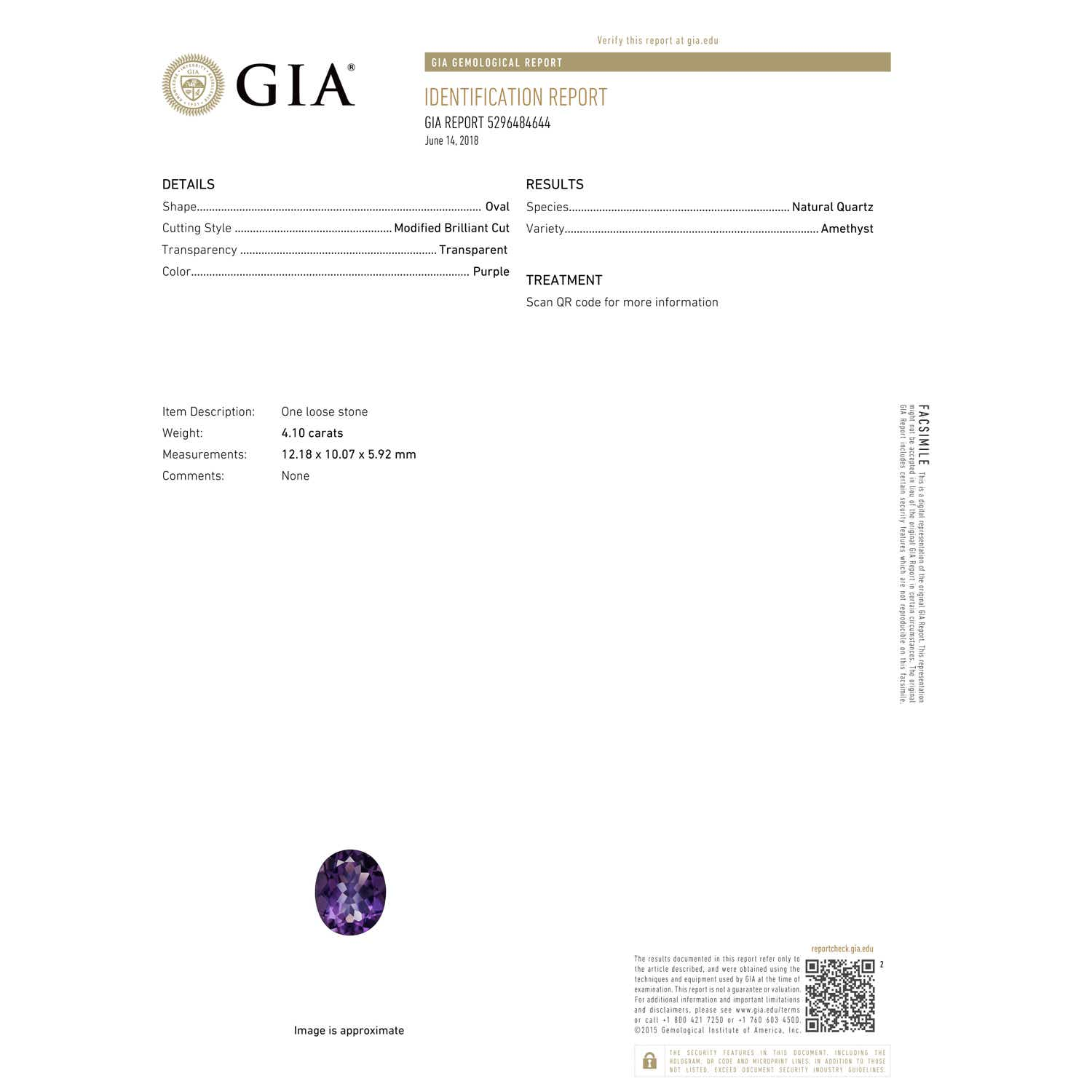 Gia Certified Oval Amethyst Ring With Trio Diamonds 436 Ct Tw