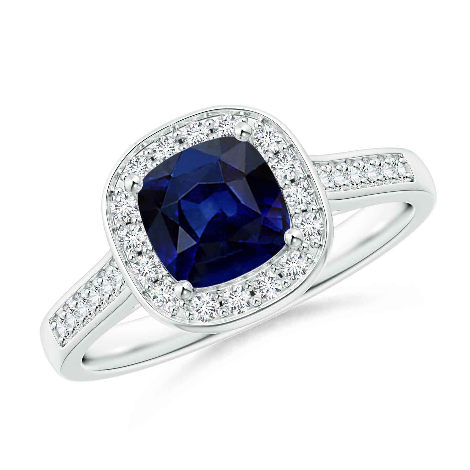 Angara Solitaire Cushion Sapphire Vintage Engagement Ring