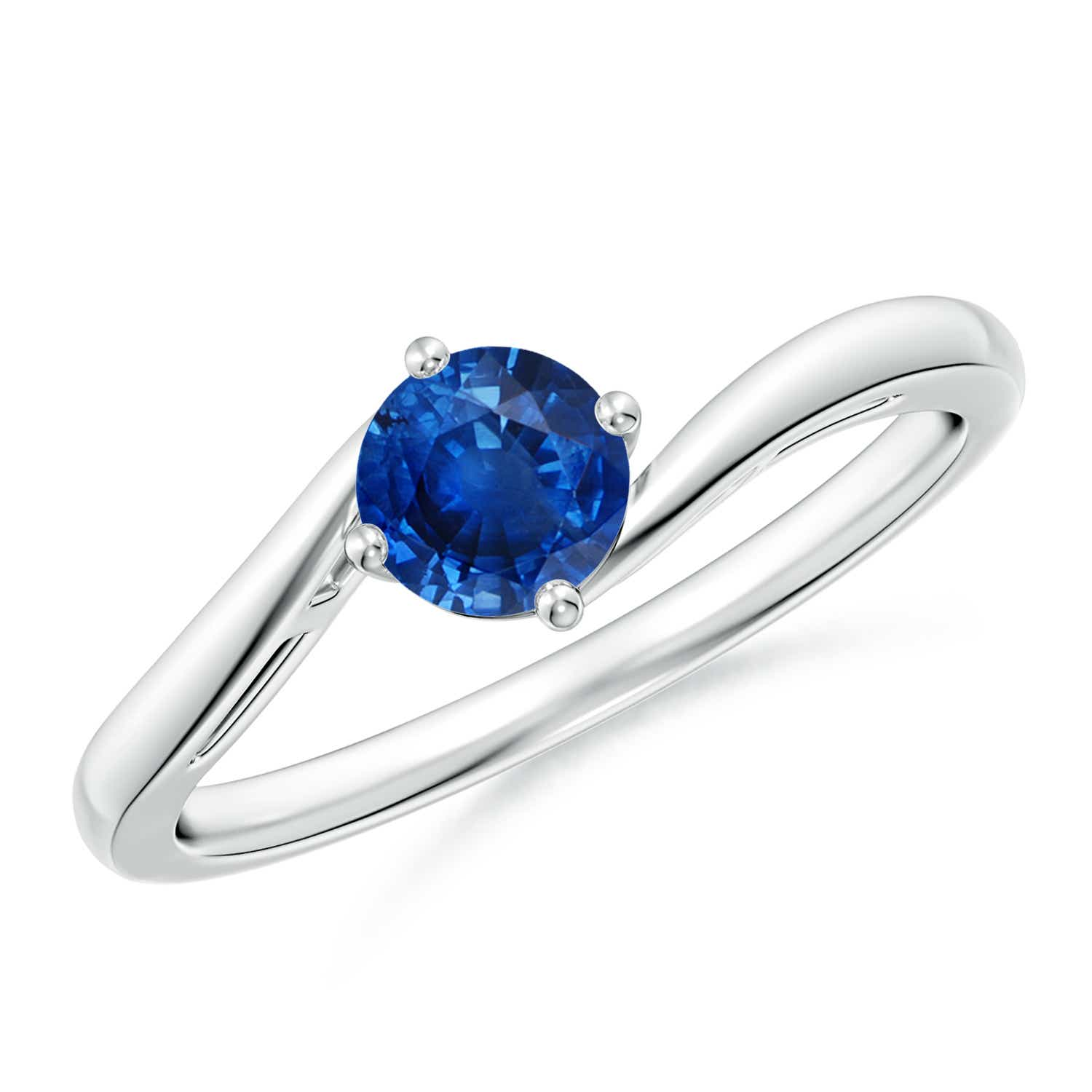 Angara Classic Solitaire Sapphire Diamond Curved Shank Ring in Platinum uNkwV