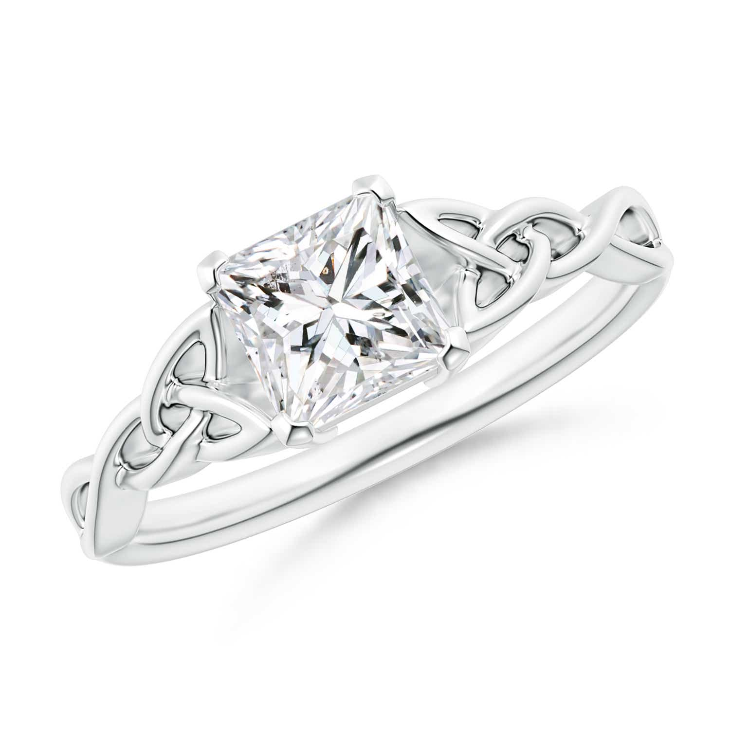Solitaire Princess-Cut Diamond Celtic Knot Ring