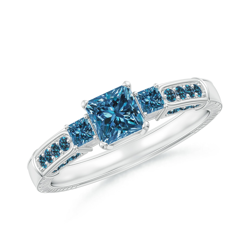 9d59d7cb606ec Princess-Cut Enhanced Blue Diamond Three Stone Ring