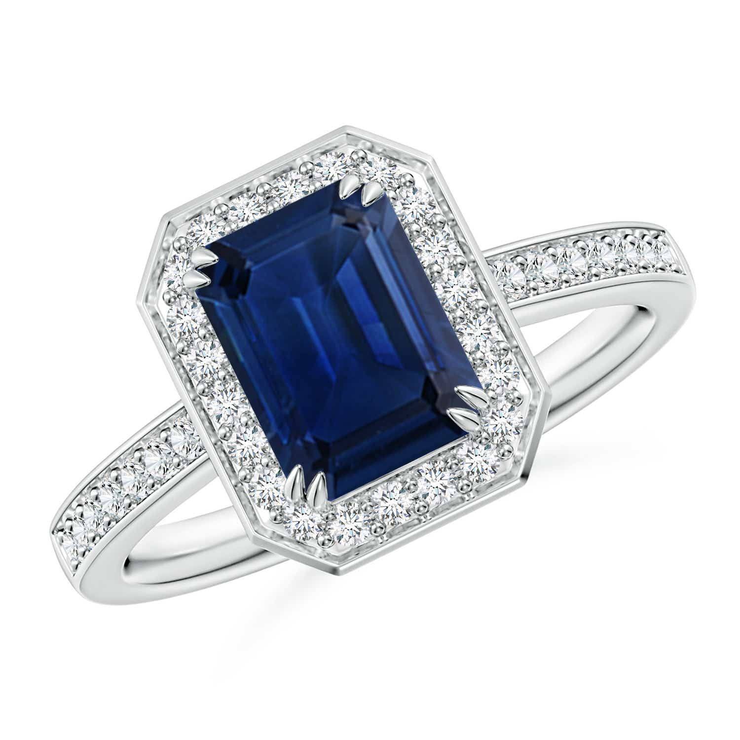 cd9d66a88cf5d Emerald-Cut Blue Sapphire Engagement Ring with Diamond Halo
