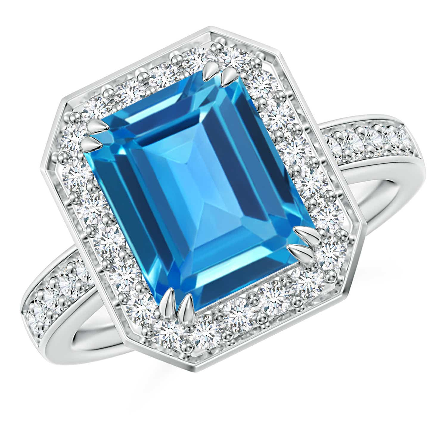 Emerald Cut Swiss Blue Topaz Engagement Ring With Diamonds Angara