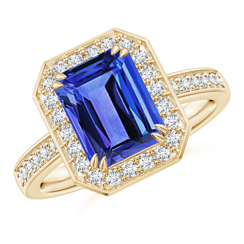 Emerald-Cut Tanzanite Engagement Ring with Diamond Halo ...