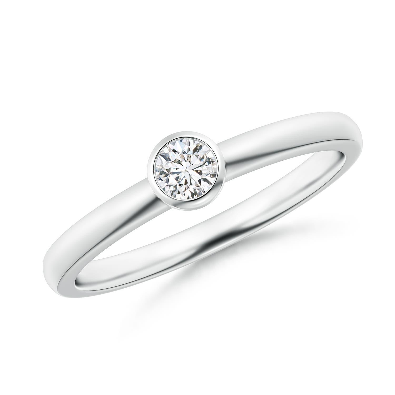 dcbc55728 Bezel-Set Solitaire Round Diamond Stackable Ring   Angara