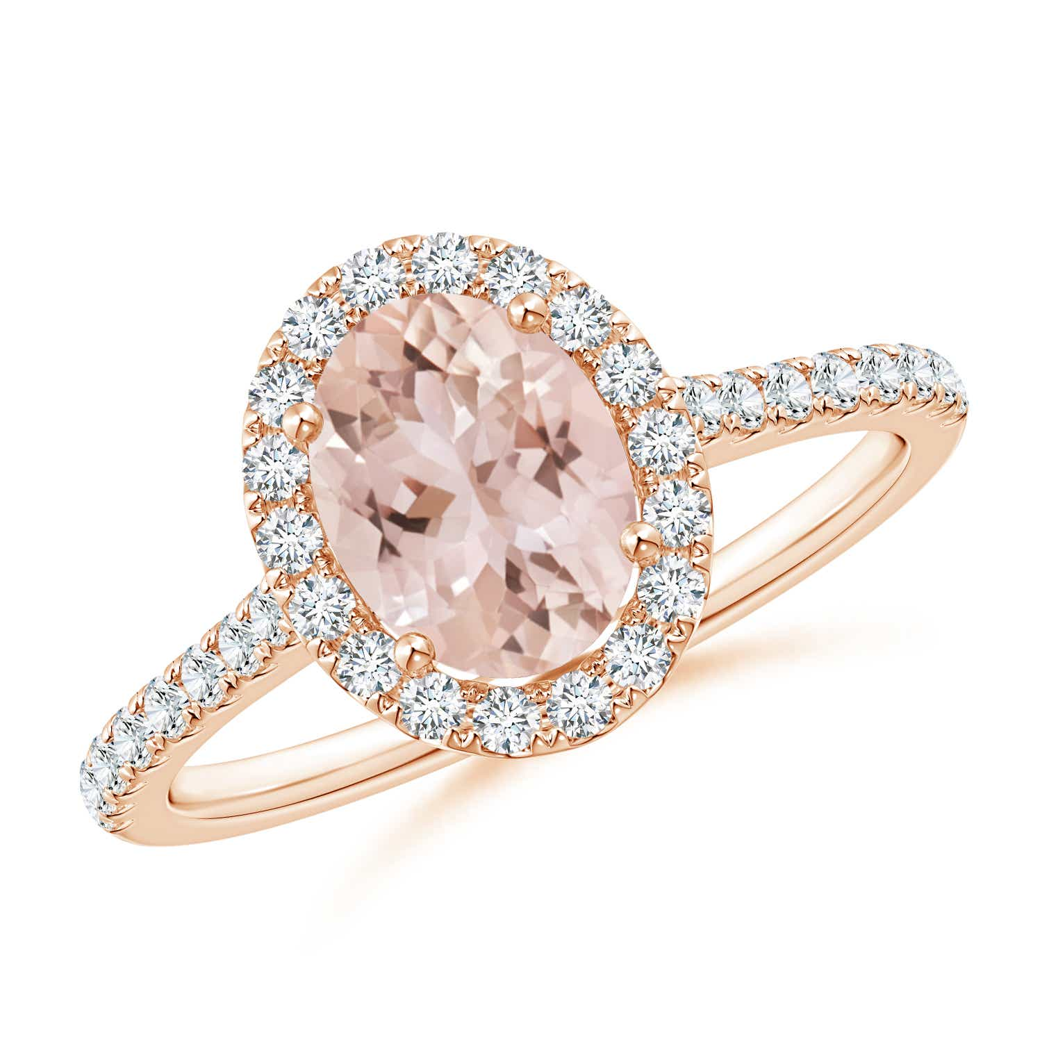 Oval Morganite Halo Ring with Diamond Accents