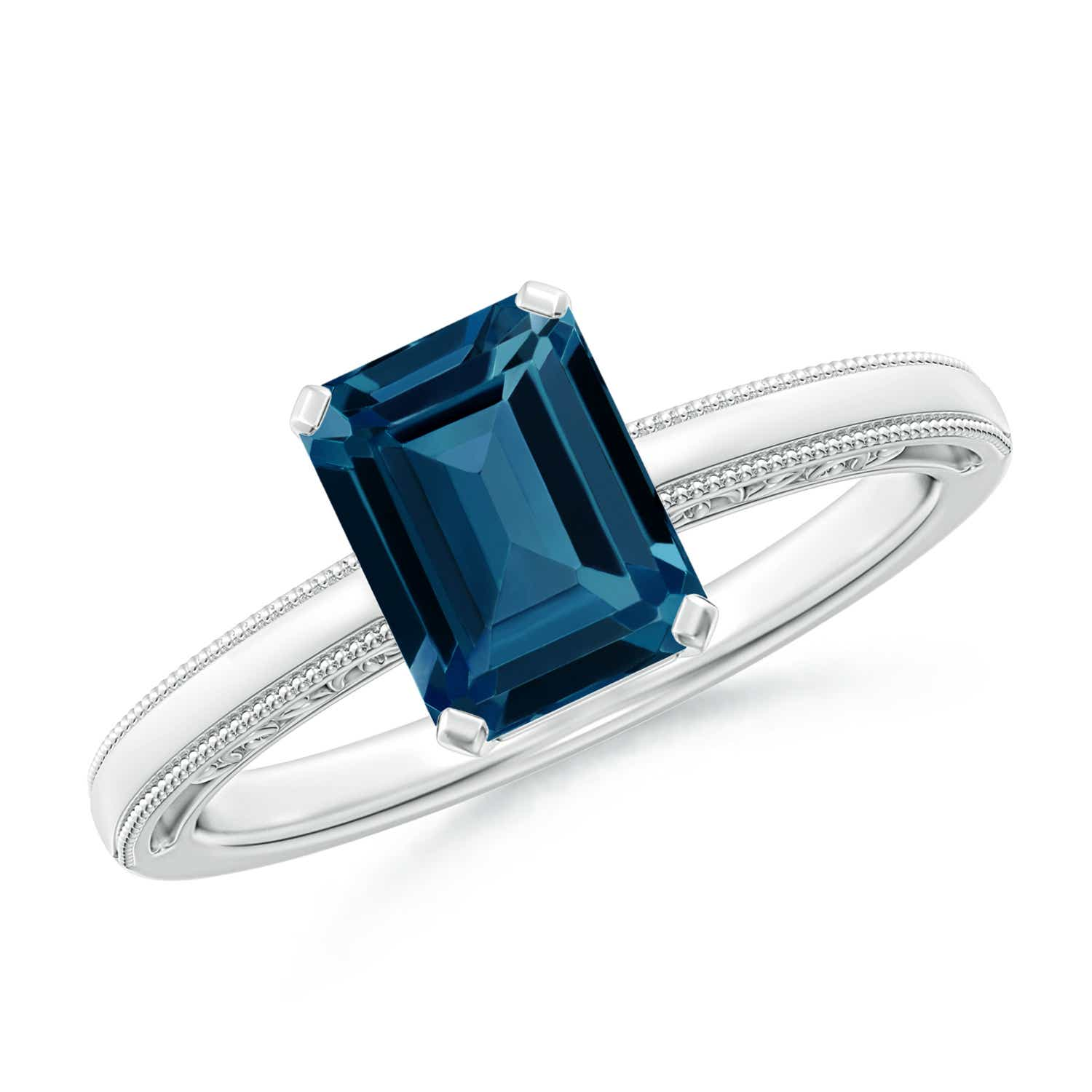 sterling silver solitaire ring London blue topaz engagement ring emerald cut
