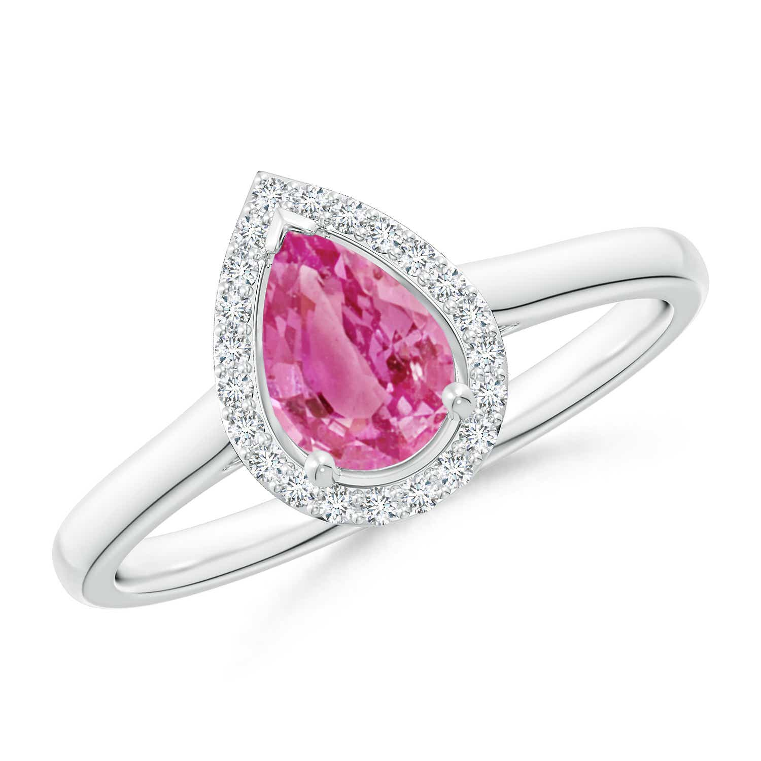 Pear-Shaped Pink Sapphire Halo Ring | Angara