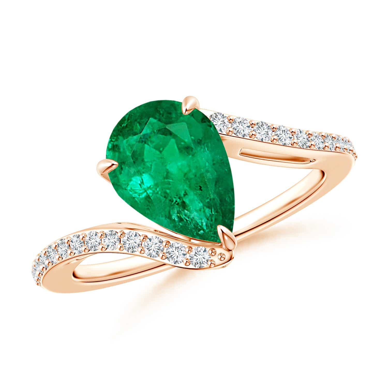 GIA Certified Pear-Shaped Emerald Bypass Ring with Diamonds