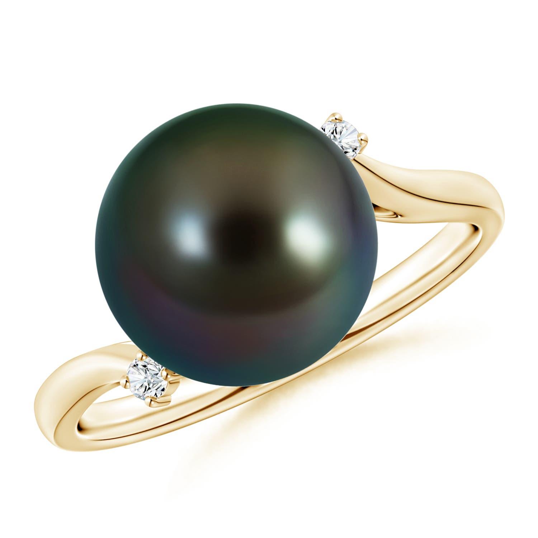 Angara Tahitian Cultured Pearl and Diamond Halo Ring mV9sQ