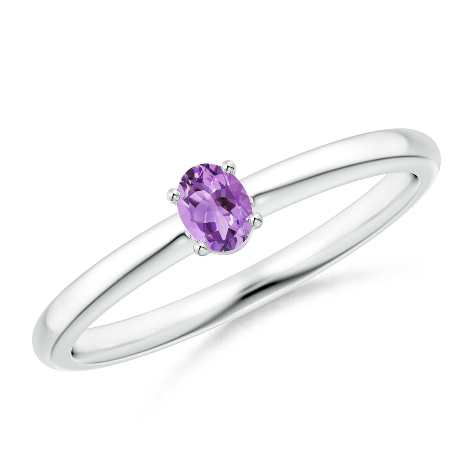Solitaire Oval Natural Amethyst Promise Ring Sterling