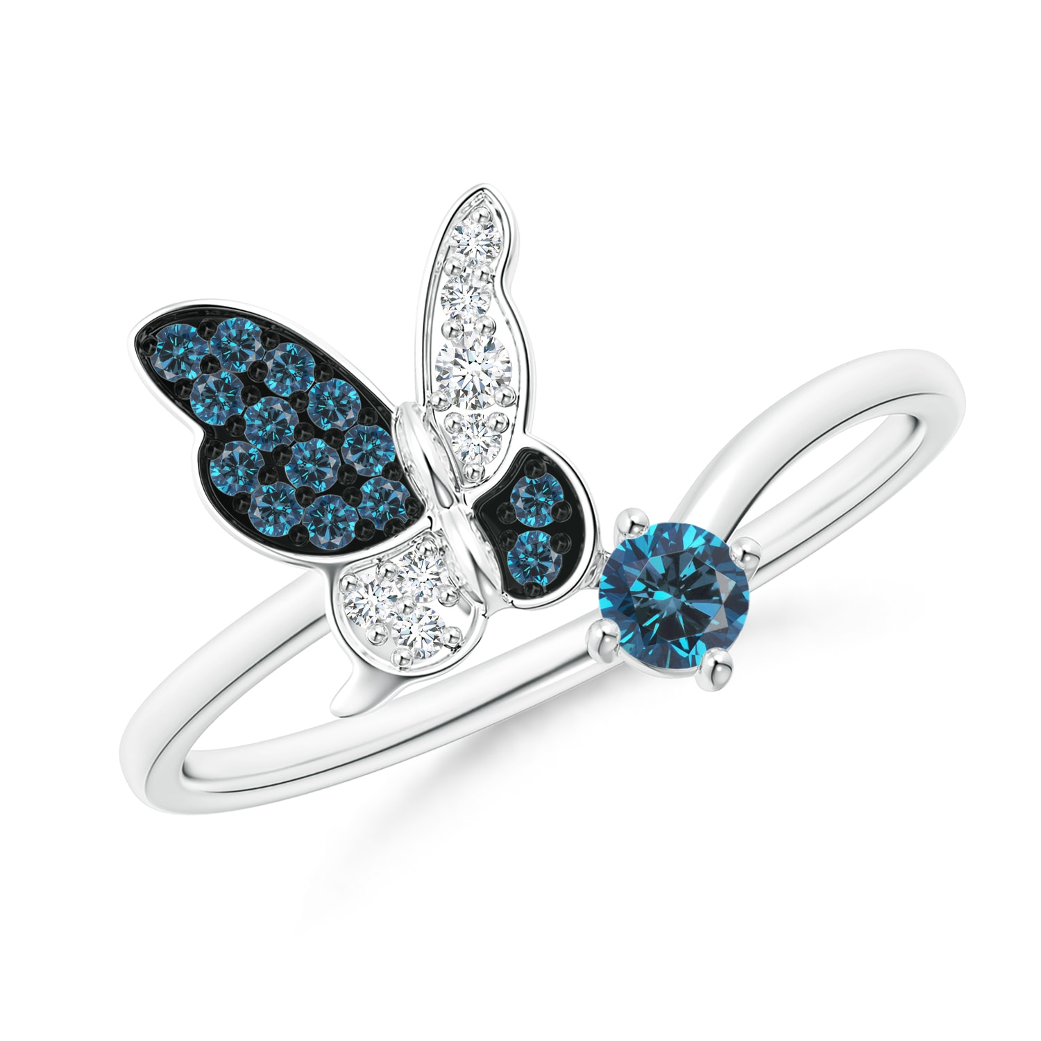 Double Butterfly Ring in 2.00 Ct Yellow /& Blue Diamond w// 14k White Gold Over