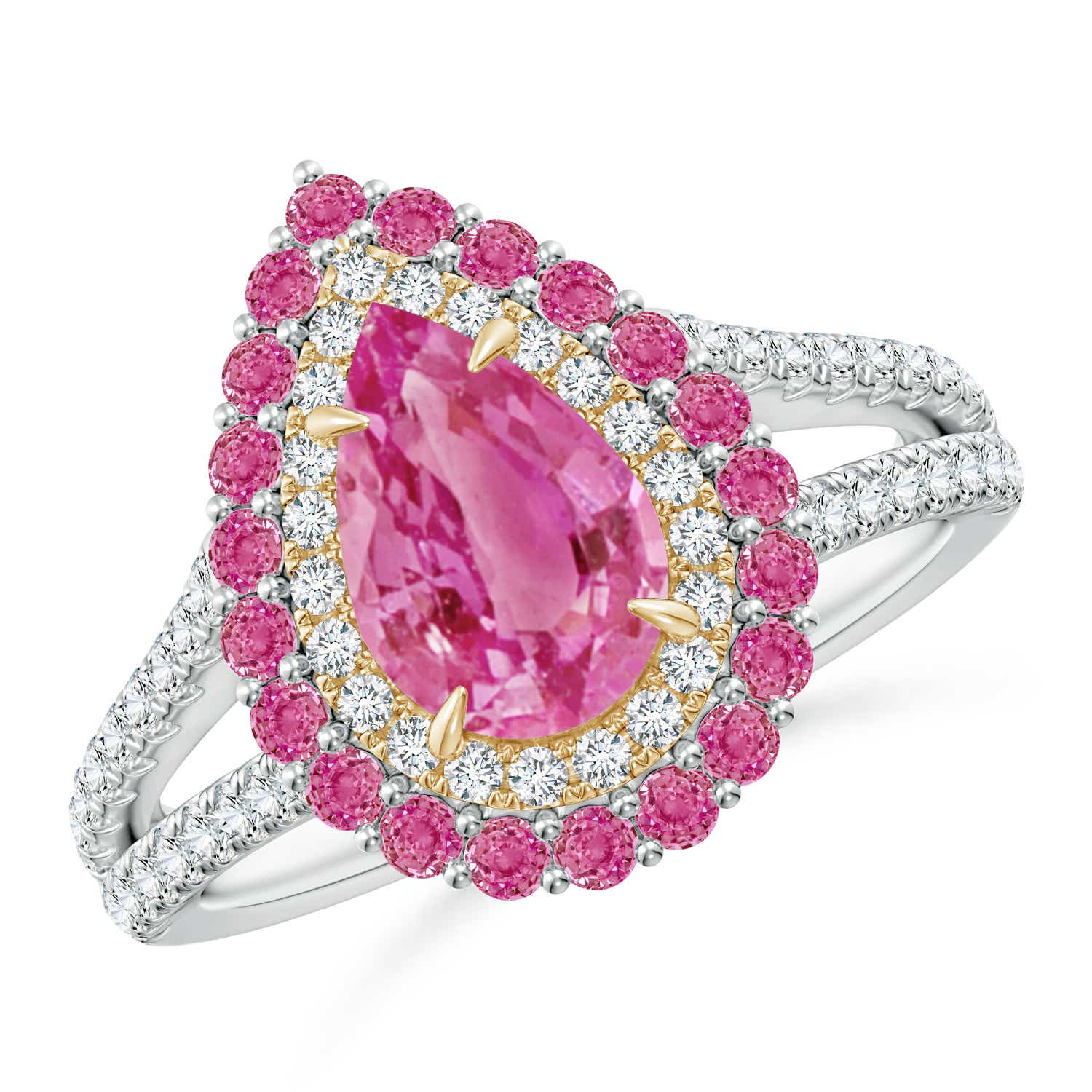 Pear-Shaped Pink Sapphire Double Halo Two Tone Ring