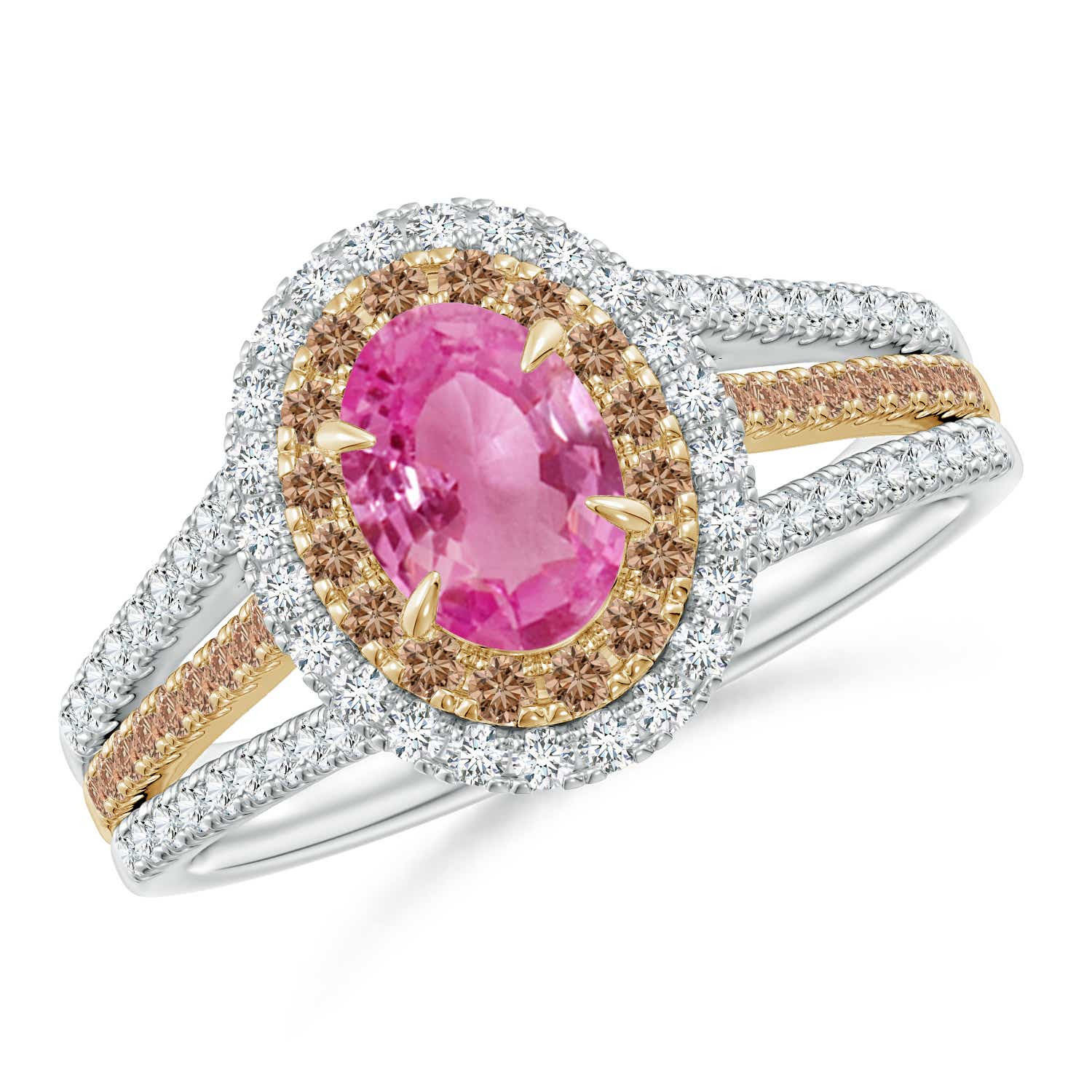 Pink Sapphire & Coffee Diamond Halo Ring in Two Tone Gold