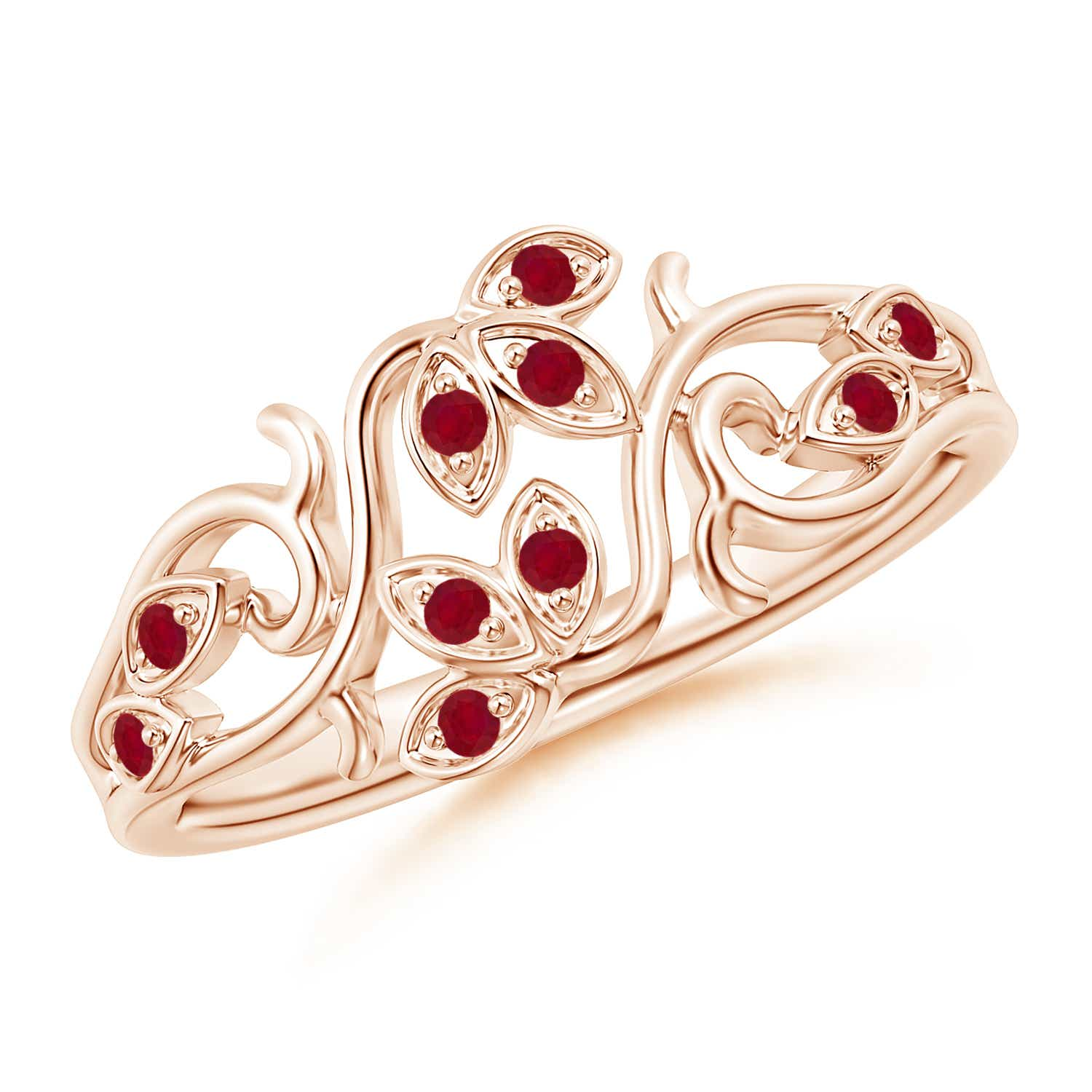 Nature Inspired Pavé-Set Ruby Leaf and Vine Ring