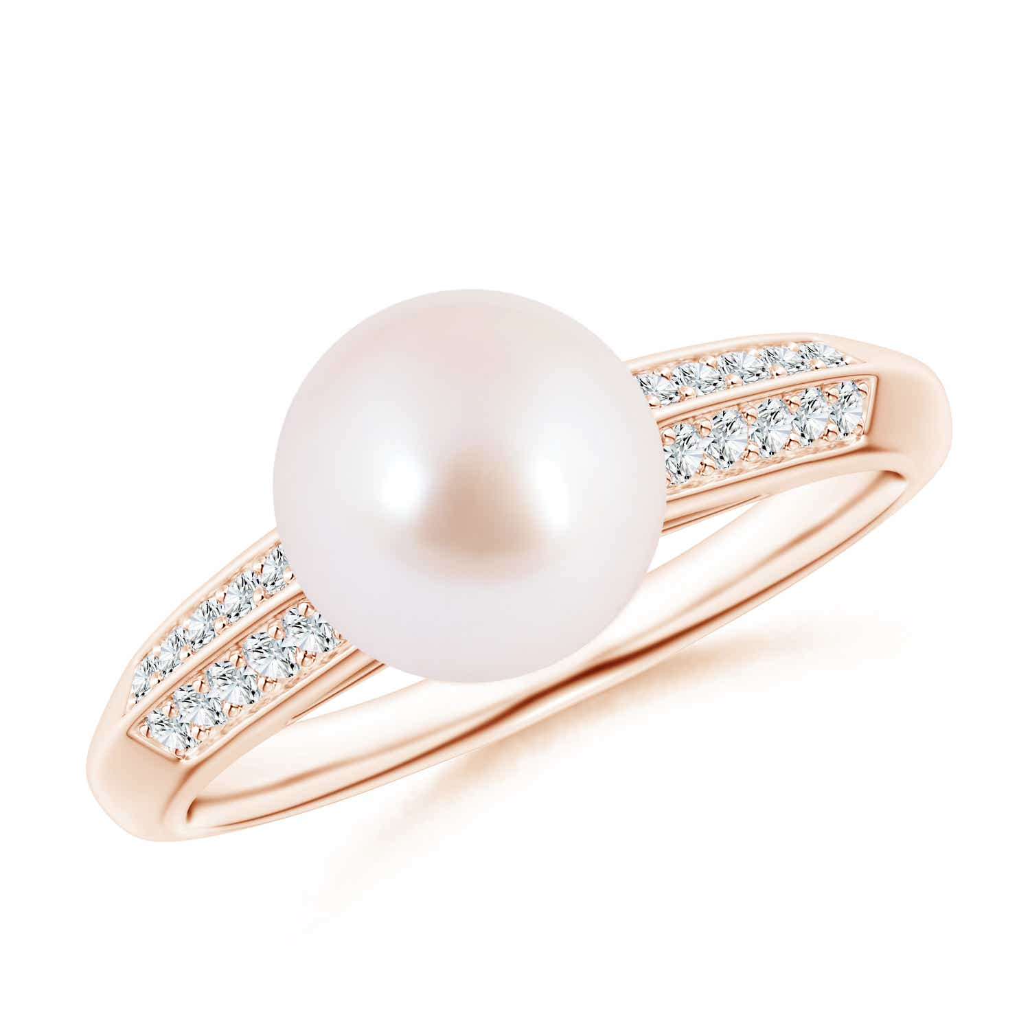 Akoya Cultured Pearl Double Diamond Row Ring