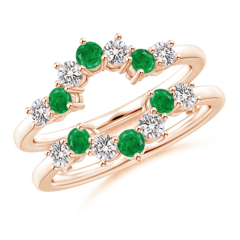 Emerald and Diamond Sunburst Ring Wrap