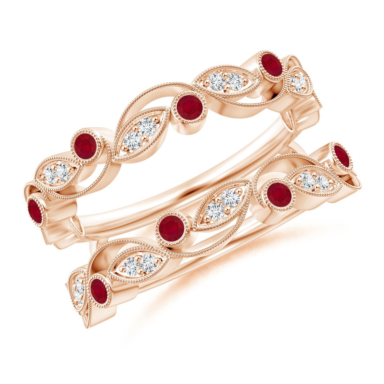 Leaf Motif Ruby and Diamond Ring Wrap