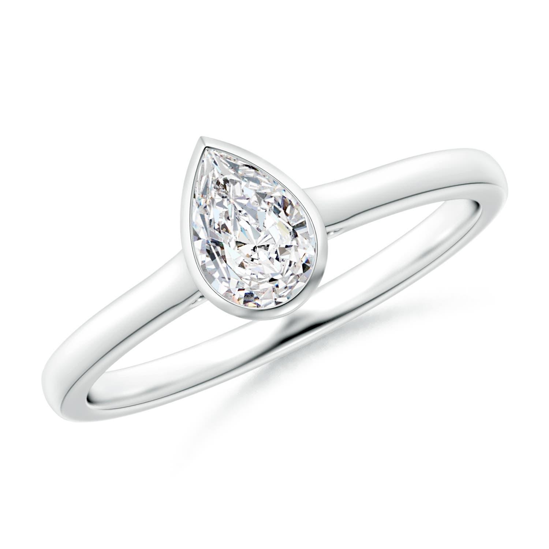 Bezel Set Solitaire Pear Shaped Diamond Engagement Ring Angara