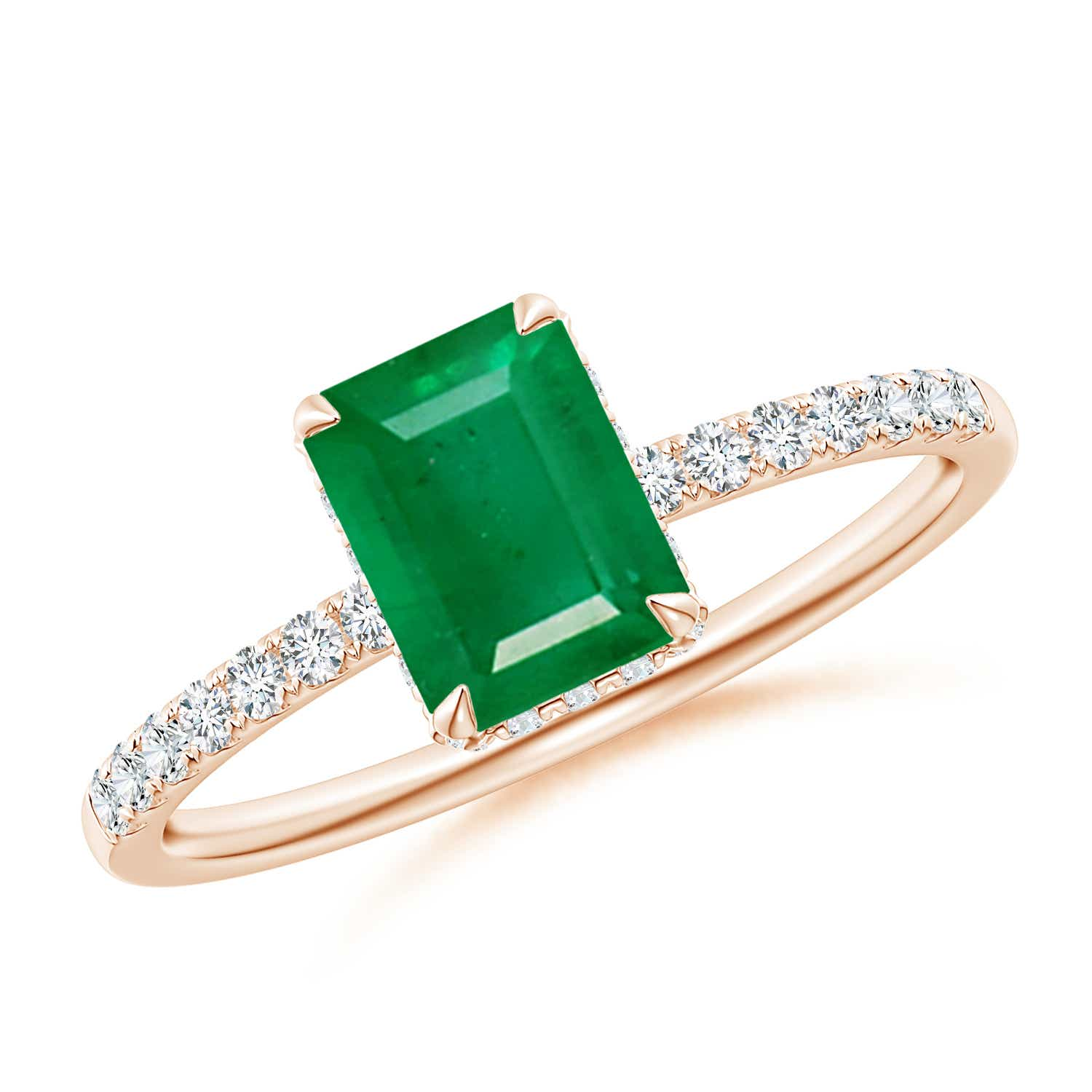 Emerald-Cut Emerald Engagement Ring with Diamonds