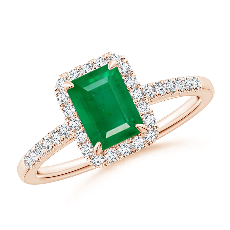Emerald-Cut Emerald Ring with Diamond Halo