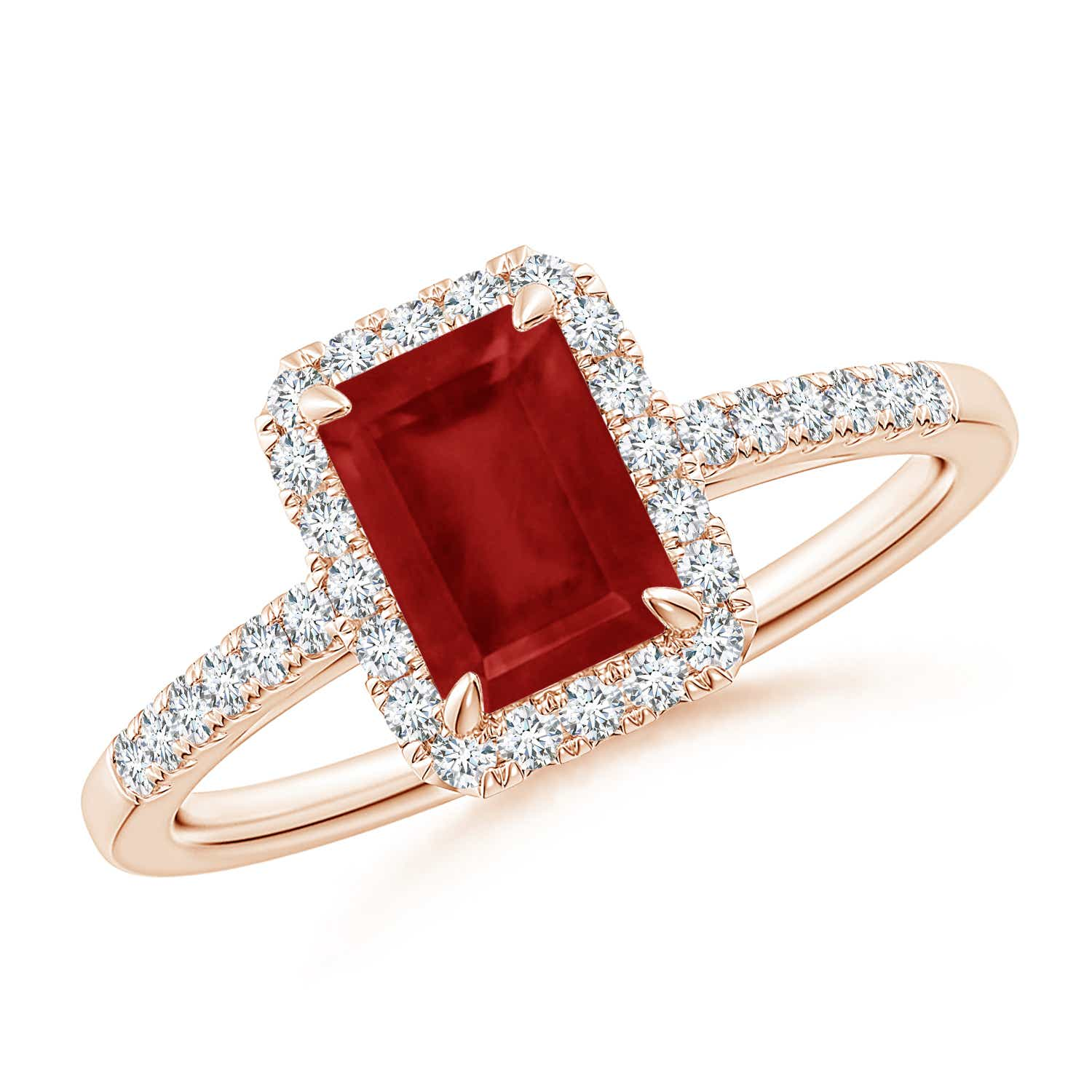 Emerald-Cut Ruby Ring with Diamond Halo