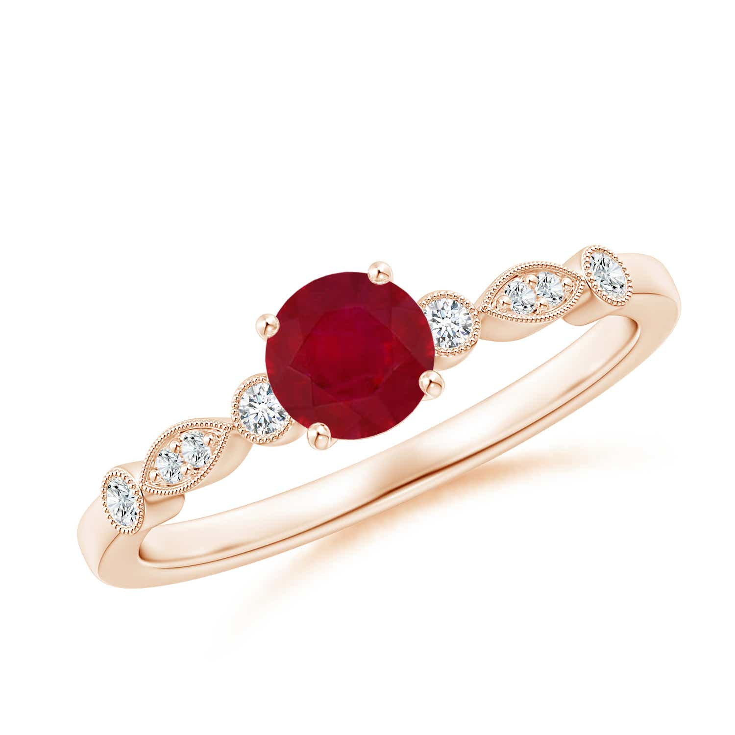 Marquise and Dot Ruby Engagement Ring with Diamonds