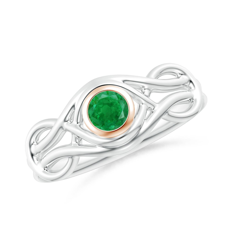 Bezel-Set Solitaire Emerald Dual Infinity Ring