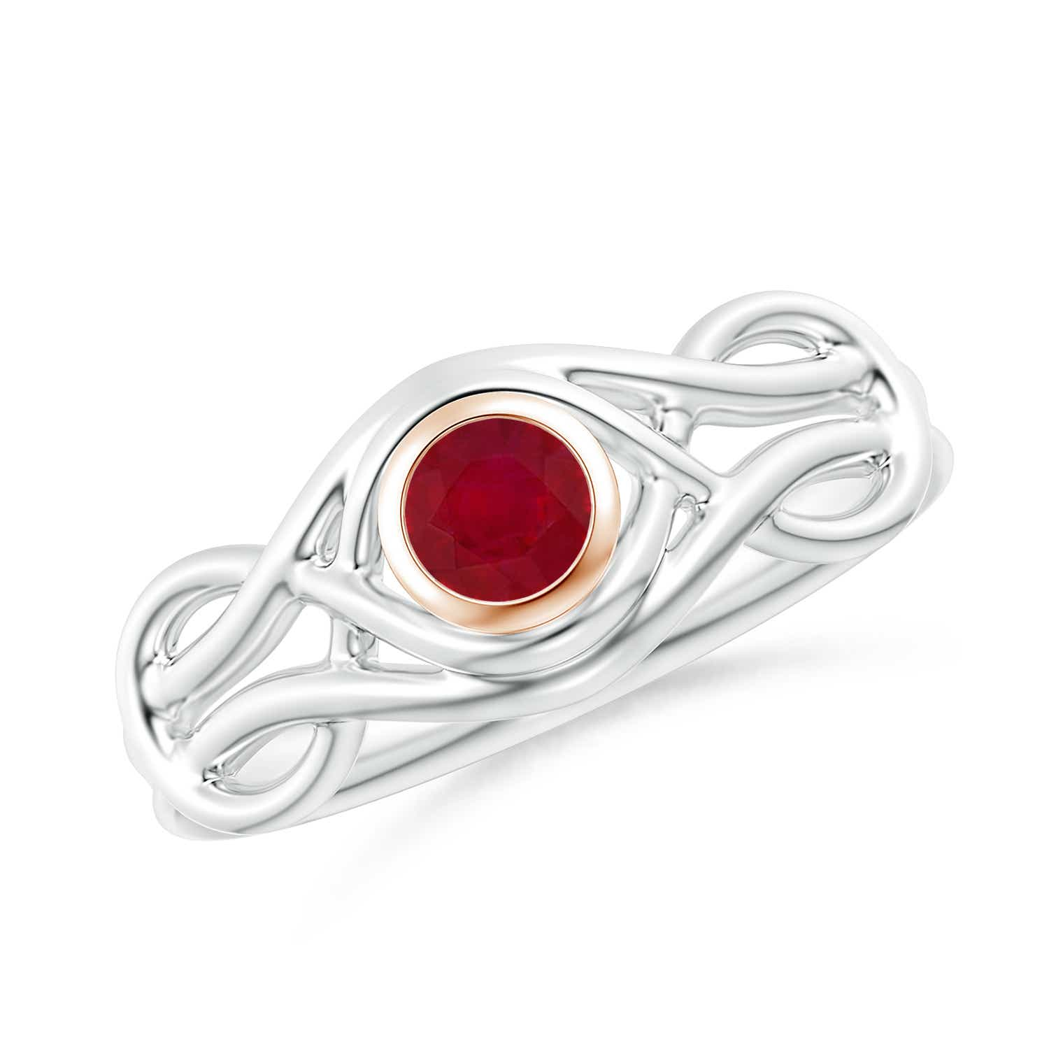 Bezel-Set Solitaire Ruby Dual Infinity Ring