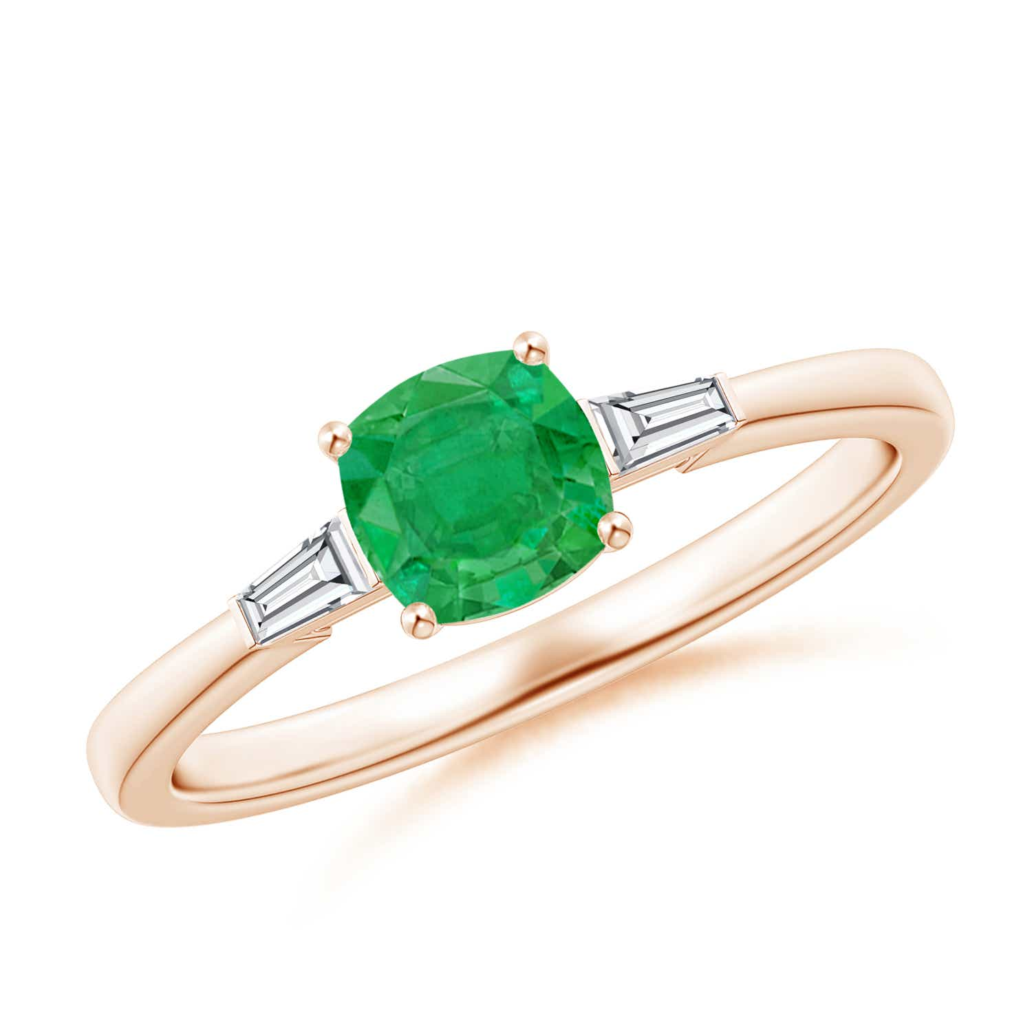 Cushion Emerald Ring with Bar-Set Tapered Baguette Diamonds
