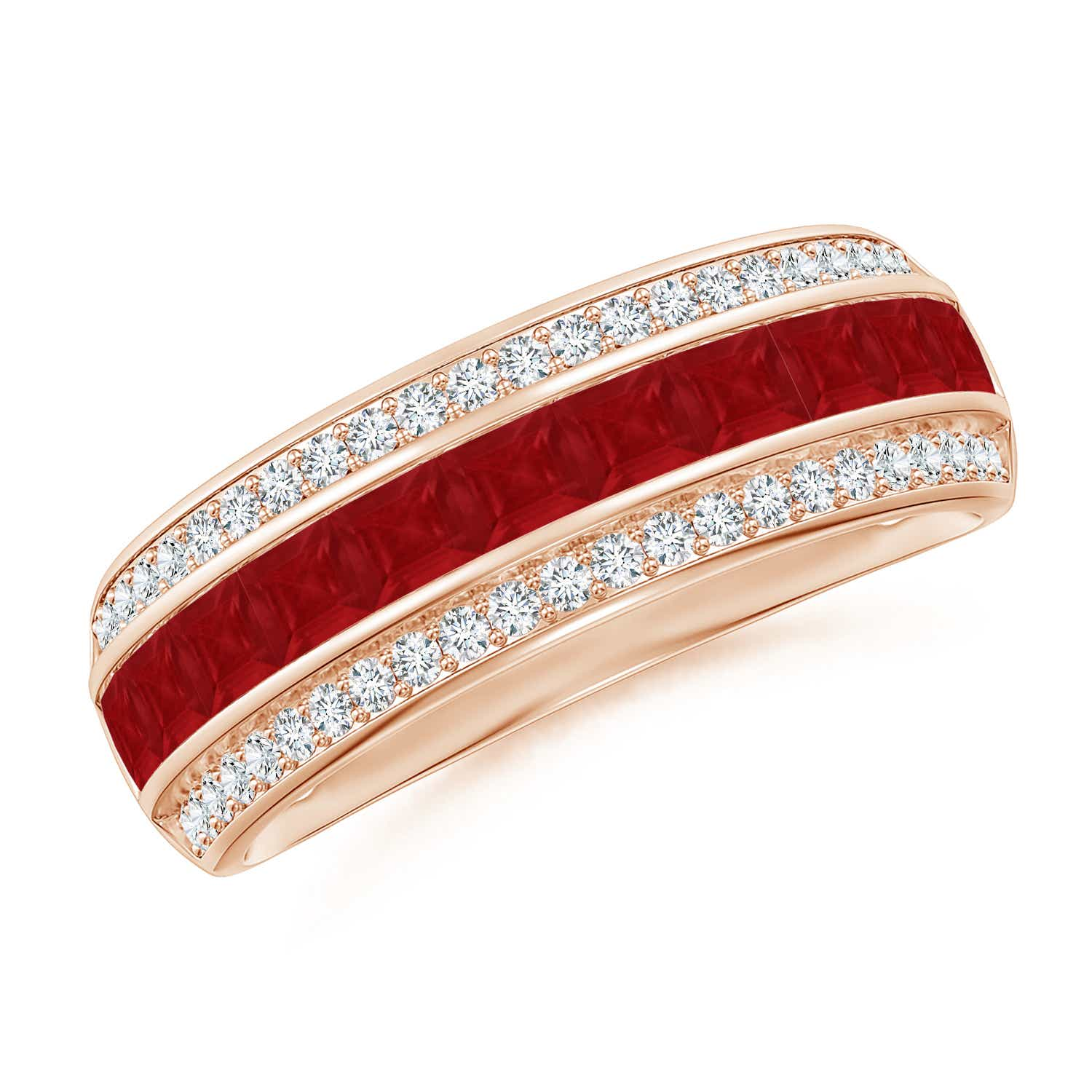Channel-Set Square Ruby and Diamond Half Eternity Band