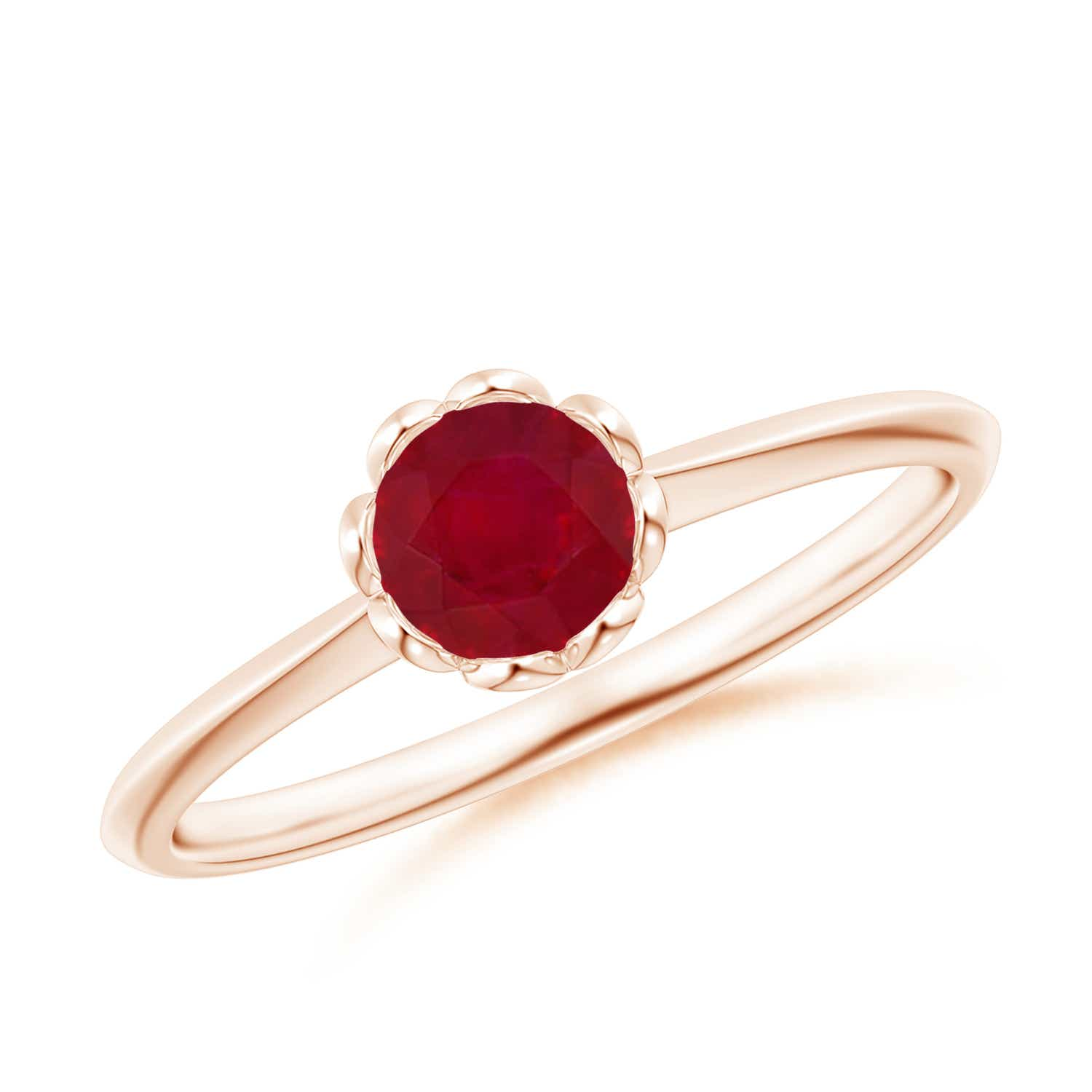 Classic Bezel-Set Round Ruby Floral Engagement Ring
