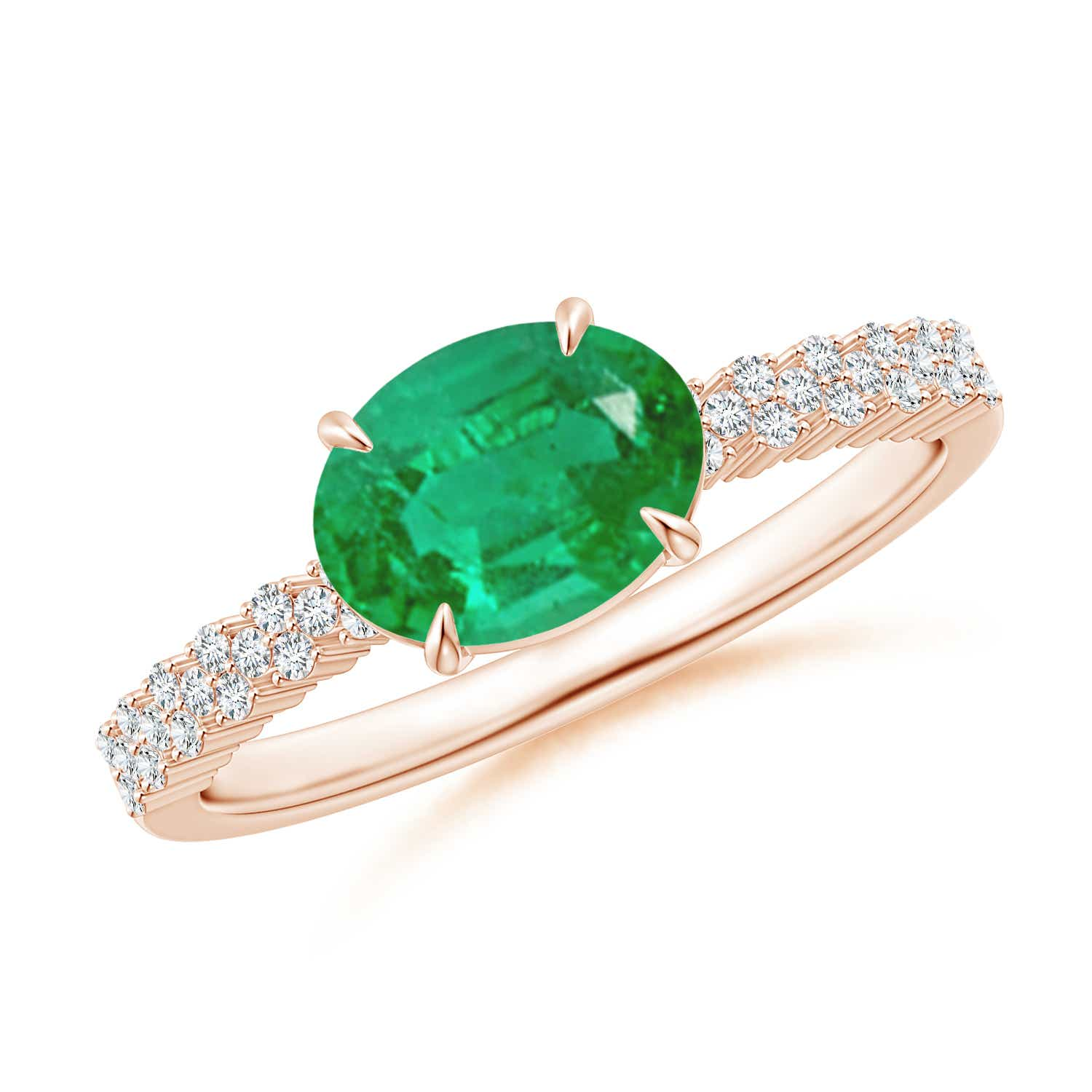 East-West Oval Emerald Ring with Diamonds