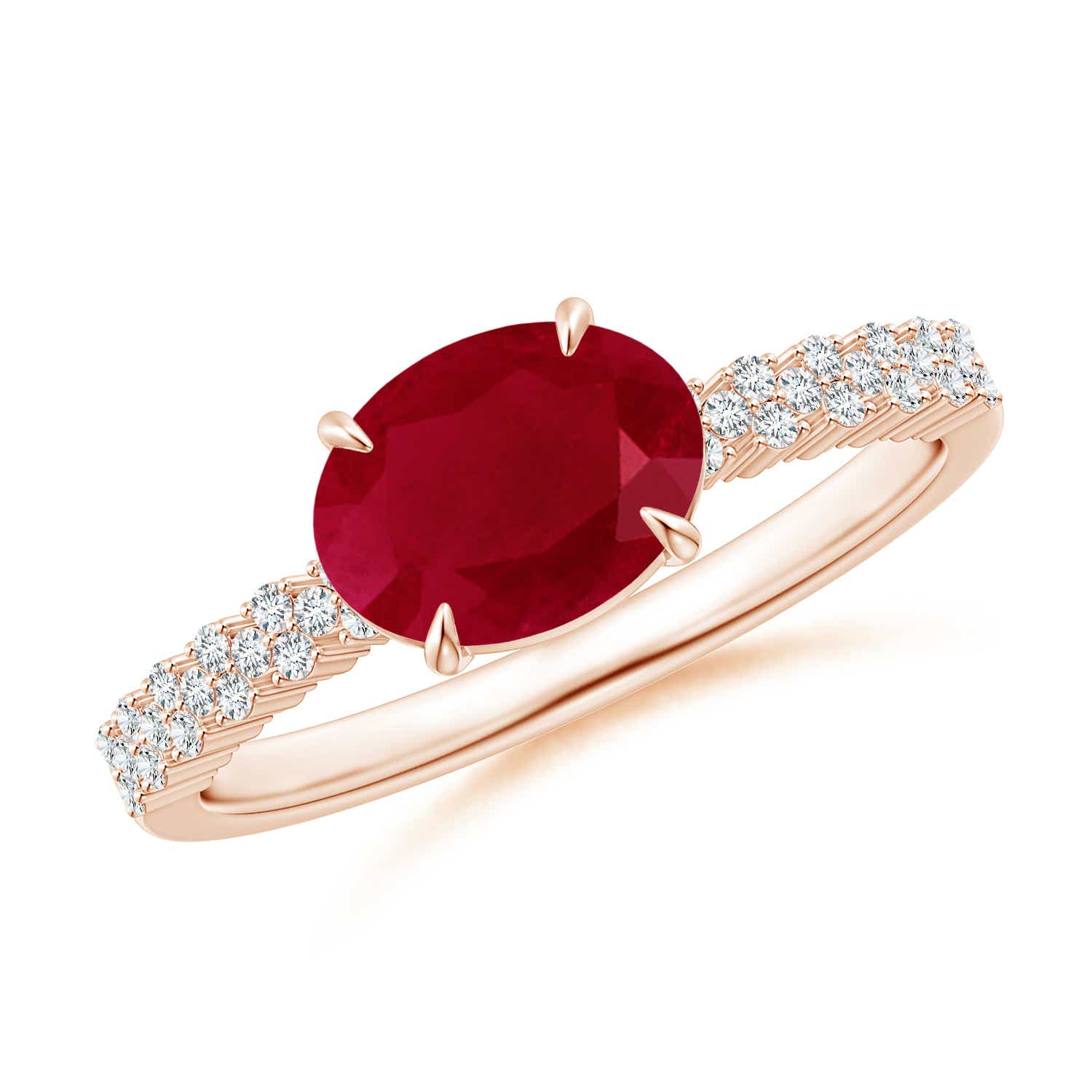 East-West Oval Ruby Ring with Diamonds