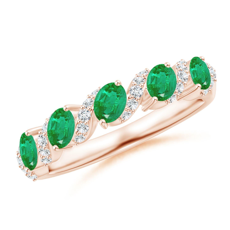 Five Stone Oval Emerald Swirl Ring with Diamonds
