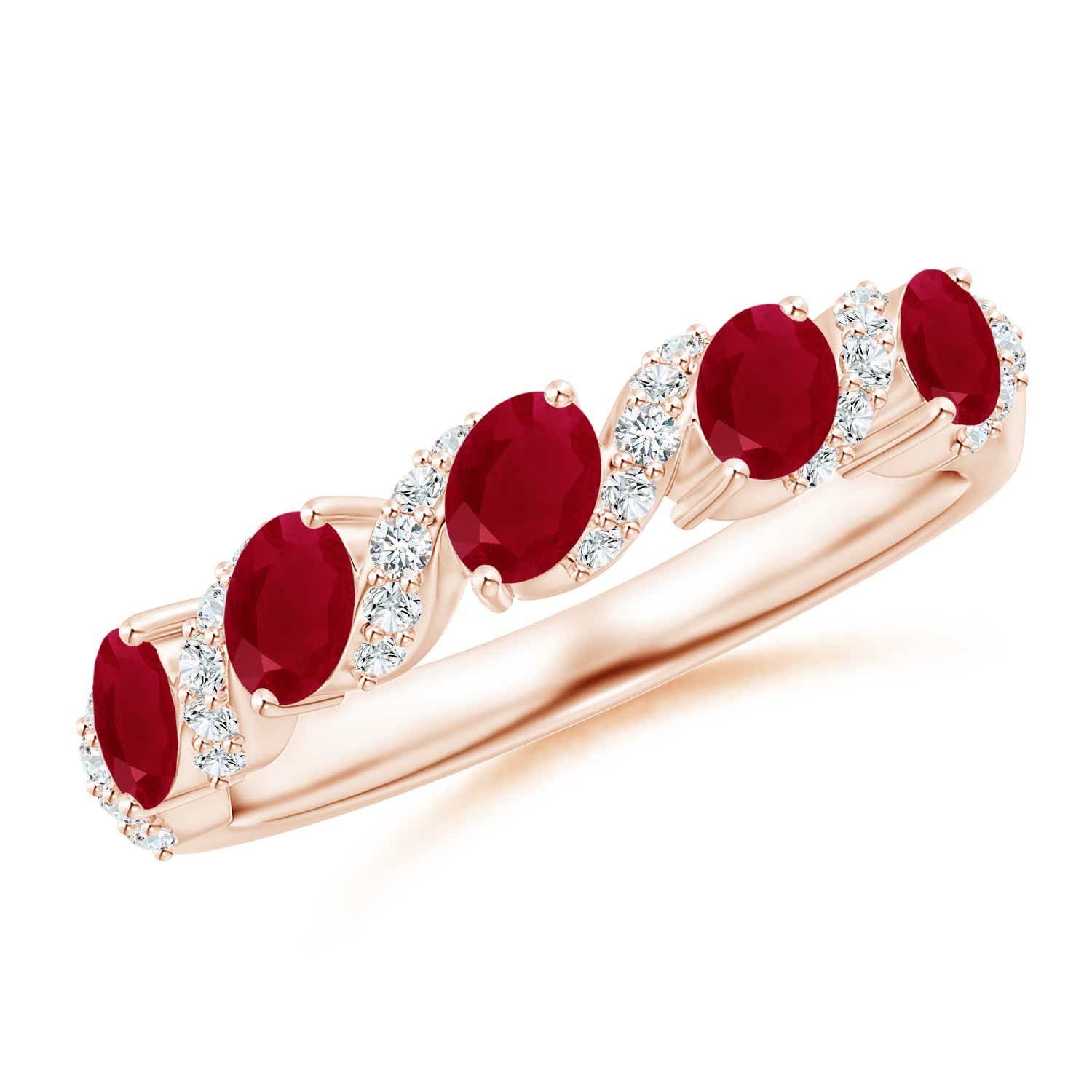 Five Stone Oval Ruby Swirl Ring with Diamonds