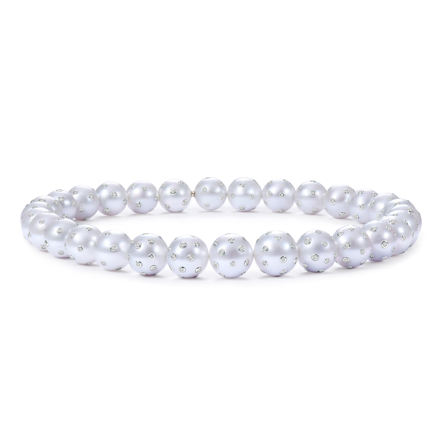 16.5 South Sea Cultured Pearl Strand with Embedded Diamonds