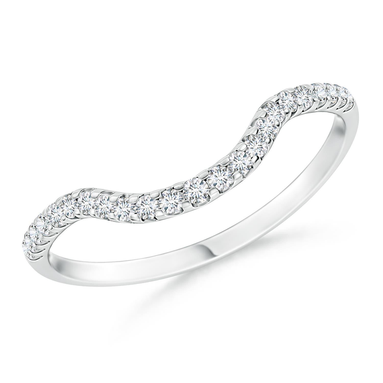 Prong Set Diamond Curved Wedding Band For Women Angara