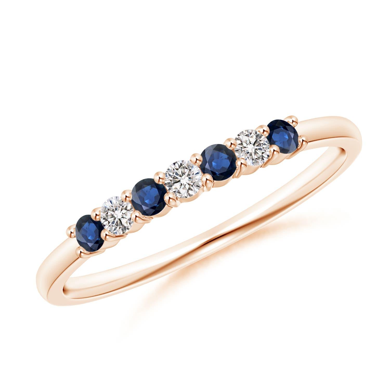 Half-Eternity-Natural-Sapphire-Diamond-Women-Wedding-Band-14K-Gold-Platinum