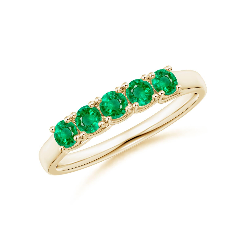 Emerald Wedding Band.Half Eternity Five Stone Emerald Wedding Band
