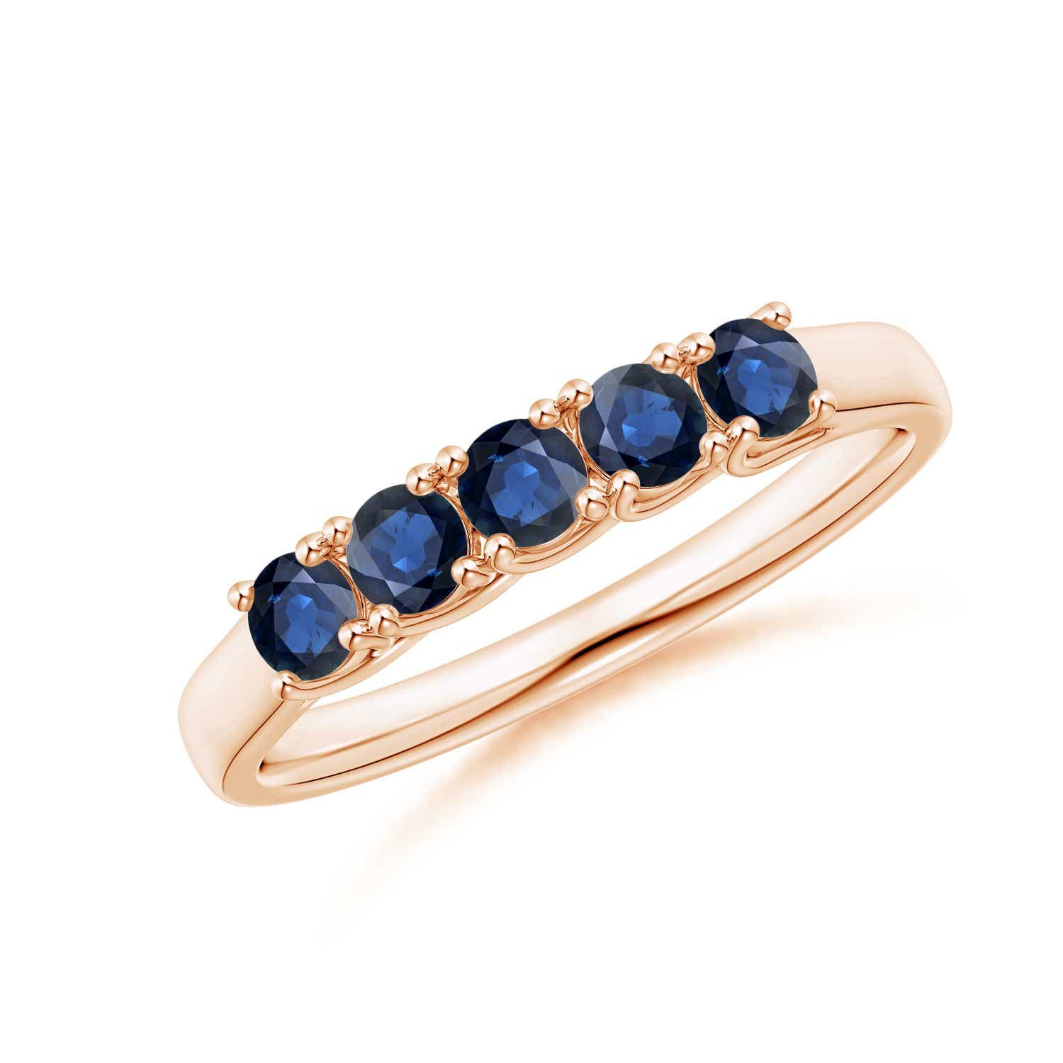 Half-Eternity-Five-Stone-Natural-Blue-Sapphire-Wedding-Band-Silver-Gold-Platinum