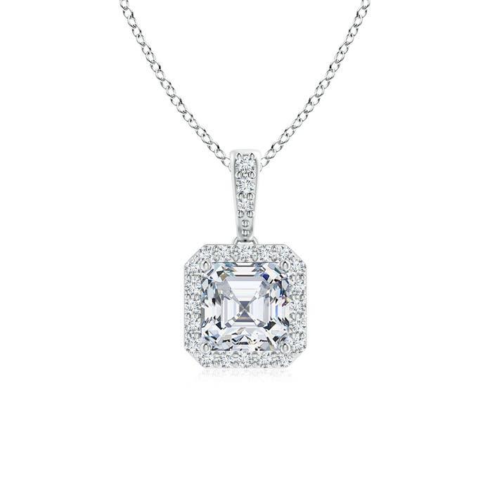 Asscher Cut Diamond Halo Dangling Pendant - Angara.com