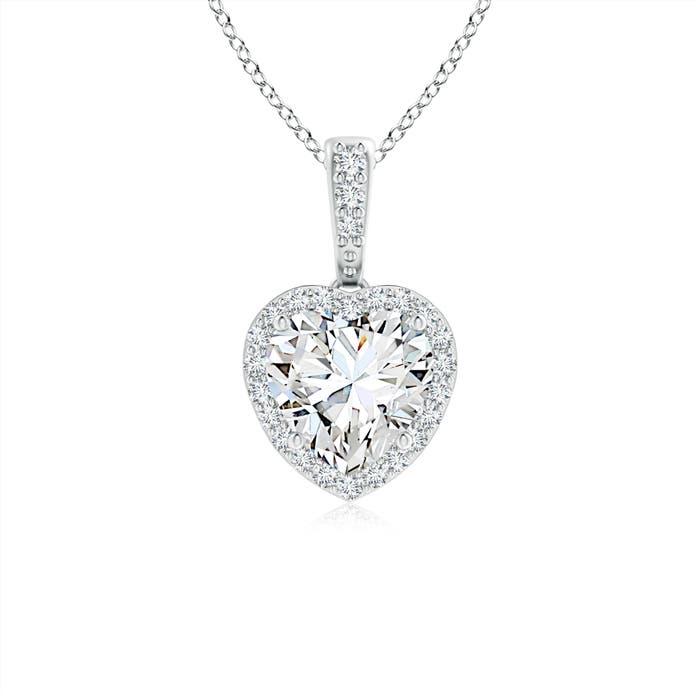 Heart Diamond Halo Dangling Pendant - Angara.com