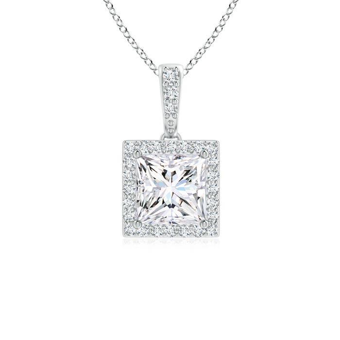 Princess Diamond Halo Dangling Pendant - Angara.com