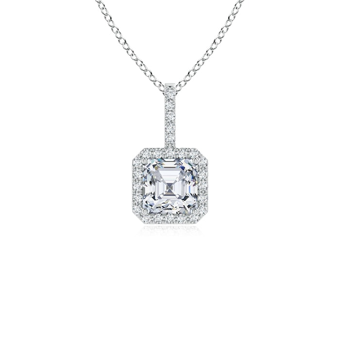 Asscher Cut Diamond Halo Pendant - Angara.com