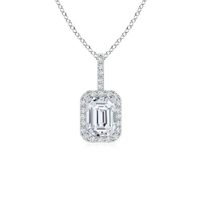 Emerald Cut Diamond Halo Pendant - Angara.com